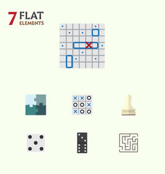 Flat icon games set of bones game labyrinth xo vector