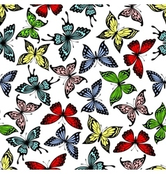 Flying butterflies insects seamless pattern vector image