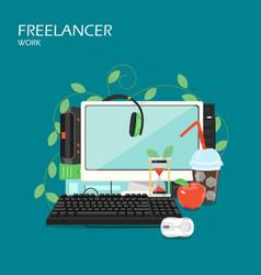 freelancer work flat style design vector image