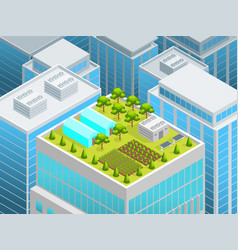 garden on the roof concept 3d isometric view vector image