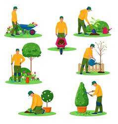 gardener performs garden work with different tools vector image