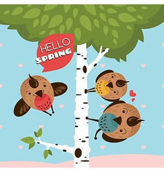 Greeting card with birds and tree vector image