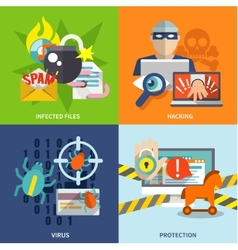 Hacker icons flat set vector image