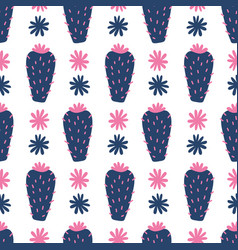 Hand drawn floral mexican cacti seamless pattern vector