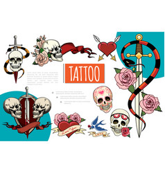 hand drawn tattoo elements composition vector image