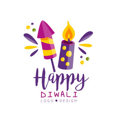 happy diwali logo hindu festival of lights label vector image