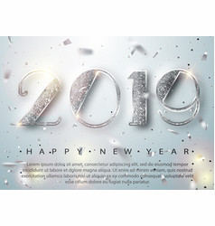 happy new year 2019 greeting card with silver vector image
