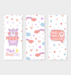 have a good day card template with cute babear vector image
