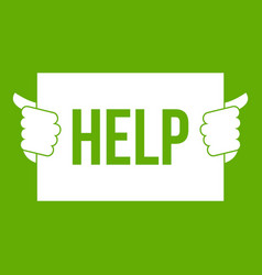 Help icon green vector