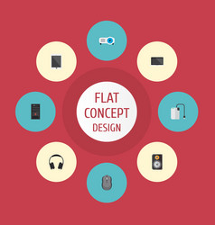 Icons flat style projector tablet control device vector