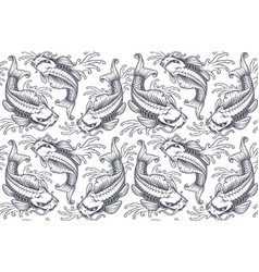 koi carp seamless pattern version for white vector image