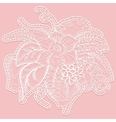 Lace single large flower with leaves White vector image