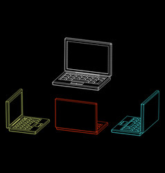 laptop icon outline different viewes vector image