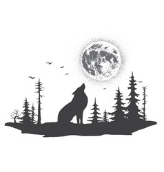 lonely wolf howling at moon vector image