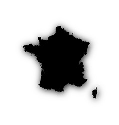 map of france with shadow vector image
