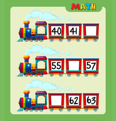 Math worksheet with counting numbers on train vector