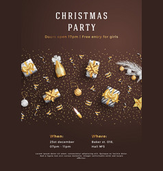 merry christmas party layout poster poster or vector image