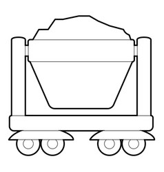 Mine cart icon outline style vector