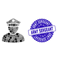 Mosaic army sergeant icon with textured army vector