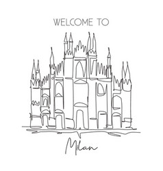 one single line drawing duomo di milano landmark vector image