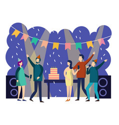 people cartoon party vector image