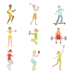 People Enjoying Sports Activities vector