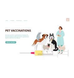 Pet vaccination landing page vector