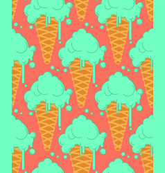 pistachio ice cream in waffle cone seamless vector image