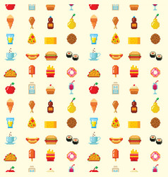 pixel art food computer design seamless pattern vector image