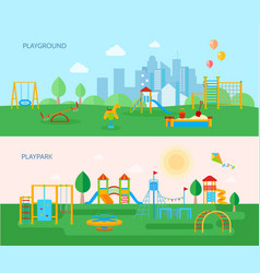 Playground park banners set vector