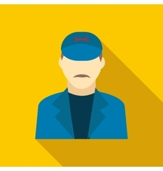 Plumbe in a blue uniform icon flat style vector