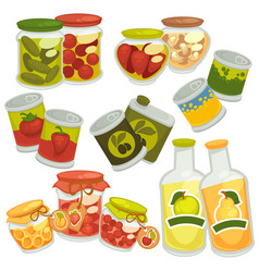 Preserves jam jars juice bottles pickles tin vector