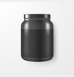 realistic 3d black plastic jar can vector image