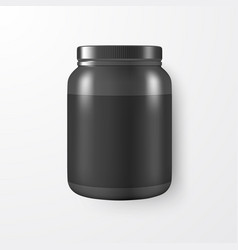 Realistic 3d black plastic jar can with vector