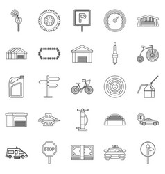 Receptacle icons set outline style vector