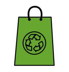 Recycle bag shopping icon vector