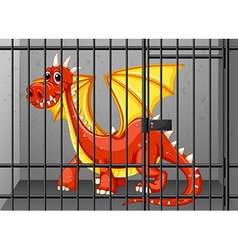 Red dragon in the cage vector