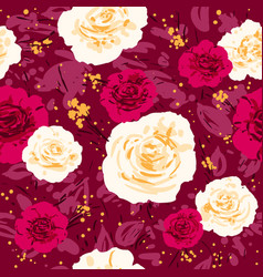 red trendy flowers vector image