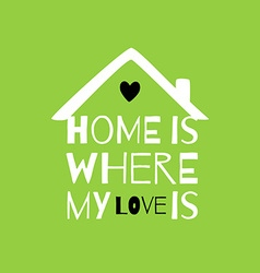 Romantic greeting card with quote about home and vector image