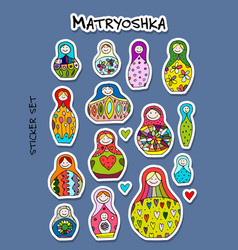 Russian nesting dolls matryoshka sticker set for vector
