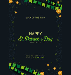 saint patricks day banner clover leaves with vector image