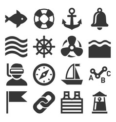 Sea sailing icons set vector