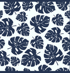 Seamless pattern with tropical monstera leaves vector