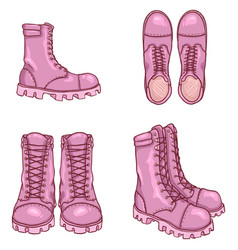 Set cartoon army boots vector