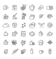 set coffee and tea related line icons vector image