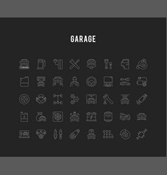 Set line icons garage and car service vector