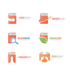 set of book logo combination bookstore and vector image