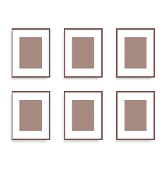 set of brown photo frames on the wall vector image