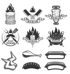 set of fast food emblems and design elements vector image