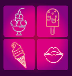 Set of food neon icons vector